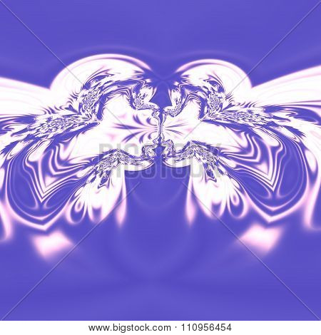 Psychedelic art, two people kissing. Special cyber arts. Design in blue color tone.