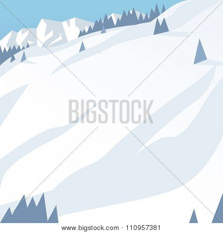 Ski resort mountains, tracks, building winter season landscape vector illustration. Ski resort vector illustration flat modern style. Mountains, snowboard, ski, winter active sport. Ski resort outdoor