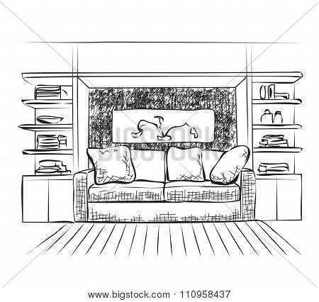 Outline sketch of a interior.