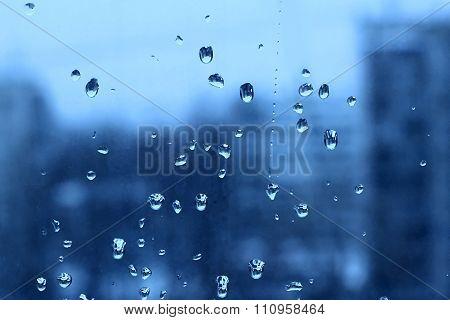 Water Drops On Turbid Window Glass