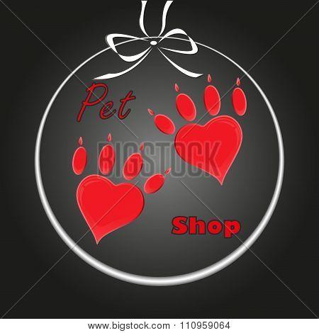 pet heart logo, dog paw logo, zoo shop