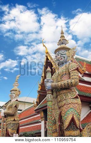 Giant guardian model with Thai traditional dress, The grand palace , Bangkok , thailand.