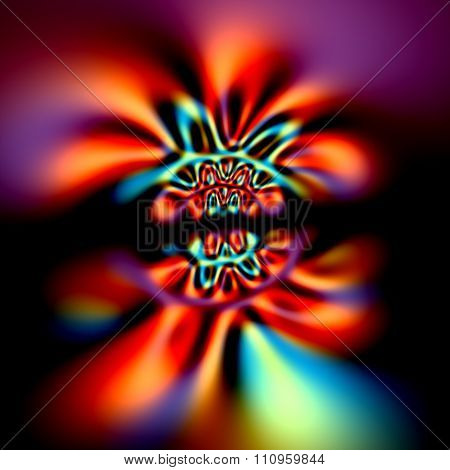 Abstract psychedelic aberrations background. Magic cyber glow. Neon light effect. Weird dynamic pic.