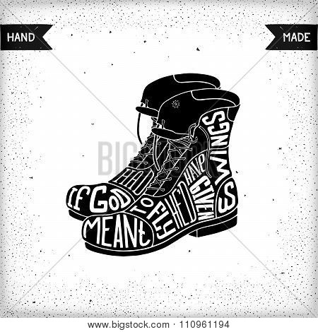 Two shoes with lettering design
