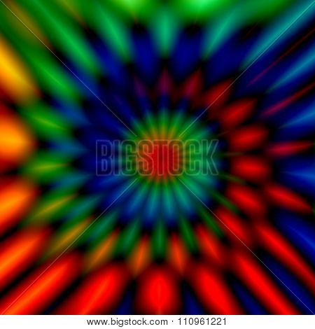 Blurry colorful swirl. Odd artsy graphic. Vivid twist decor. Cool weird shapes. Modern digital art.