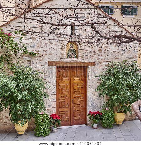 Athens Greece Panaghia Chrysospiliotisa church entrance