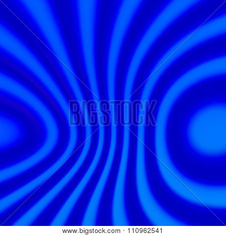 Abstract blue distorted stripes background. Soft blur effect. Blurred ring shape decor.