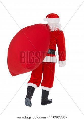 Santa Claus Back Pull Christmas Gifts Bag Isolated On White