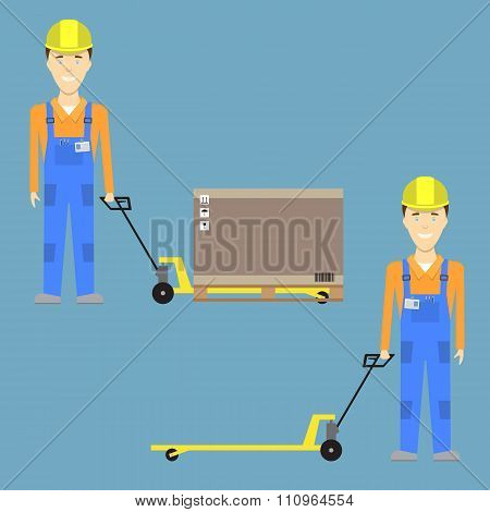 warehouse worker with hand pallet truck