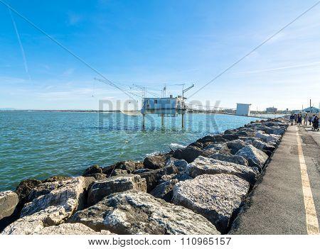 Pier And Fishing Hut In Marina Di Ravenna, Italy