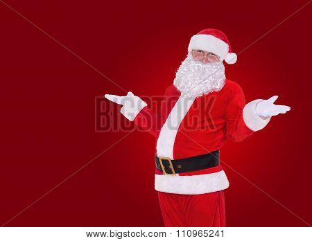 Happy Christmas Santa Claus On Red Background, New Year's Greetings