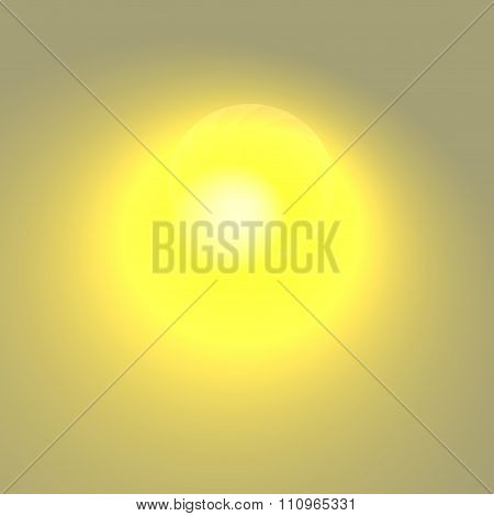 Yellow glare on grey background. Brightly lit spot. Atom bomb art. Visual ray burst.