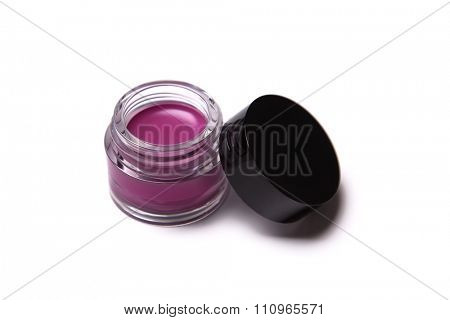 Pink trendy lip gloss in jar, isolated on white background