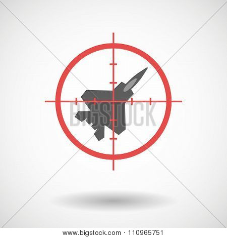 Red Crosshair Icon Targeting A Combat Plane