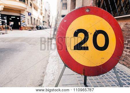 Road Sign 20 Speed Limit.