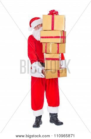 Santa Claus Bring Pile Of Gifts Isolated On White Background