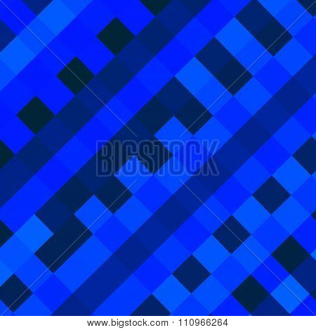 Abstract blue diagonal squares background. Odd minimal pic. Swatch in blue hue.