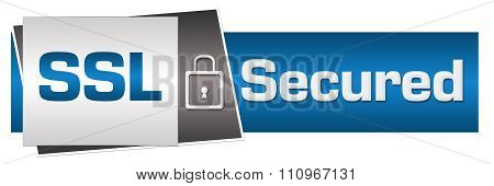 SSL Secured Blue Grey Lock Horizontal