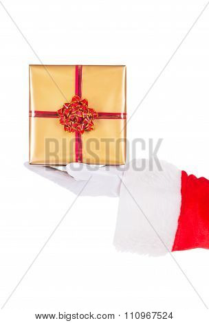 Santa Claus Hand With Gift Box Isolated On White Background