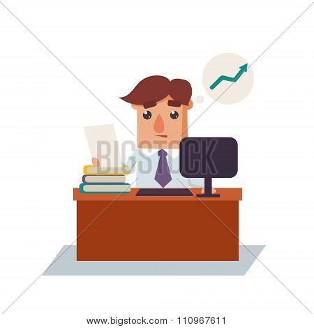 Business Man Thinking Cartoon Character Vector Illustration
