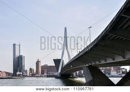 Erasmus Bridge In Rotterdam Netherlands Holland