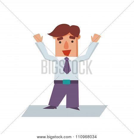 Happy Business Man Cartoon Character Vector Illustration