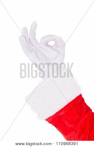 Santa Claus Hand Showing Okey Ok Sign Isolated On White