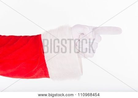 Santa Claus Gloved Hand Pointing Forefinger Gesture Sign Isolated