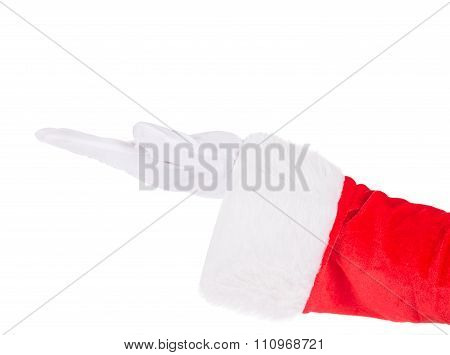 Santa Claus Gloved Hand Presenting Your Text Or Product Isolated