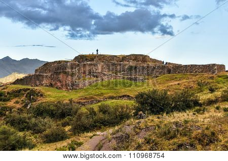 View Of The Ruins Of The Fortress Of Puka Pukara In Cusco, Peru