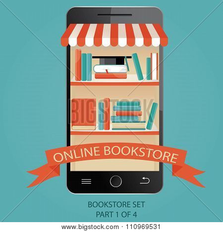 Modern Vector Illustration Of Online Bookstore.