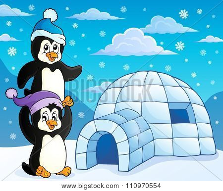 Igloo with penguins theme 3 - eps10 vector illustration.