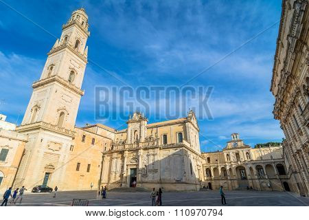 Piazza Del Duomo Square With Cathedral In Lecce