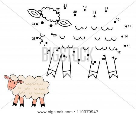 Connect The Dots To Draw The Cute Sheep