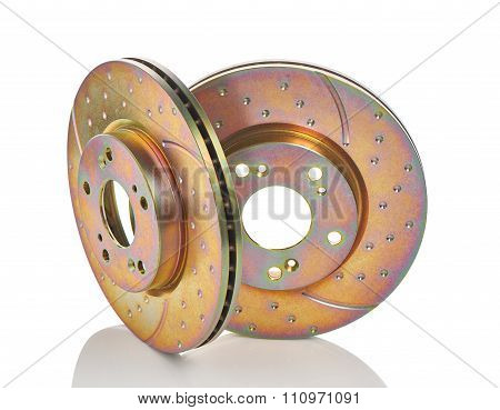 Two new car brake disks isolated on white background.