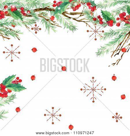 watercolor winter holidays background. watercolor illustration Christmas tree,  mistletoe branch, mi