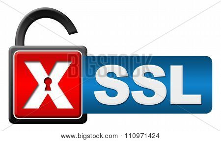 SSL Lock Red Blue Horizontal