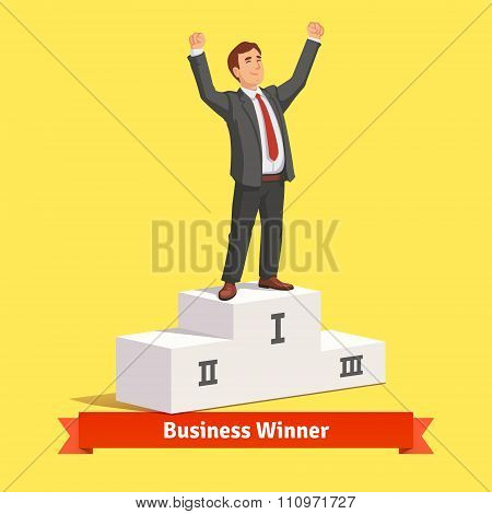 Businessman celebrating his first place victory