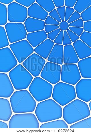 Volumetric Geometrical Blue Background With Outline Extrude Effect.  Abstract 3D Vector Background