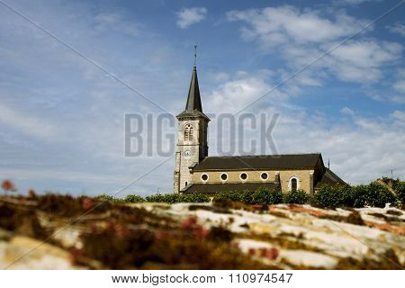 Rural Church In Small Town Among Vineyards, Burgundy