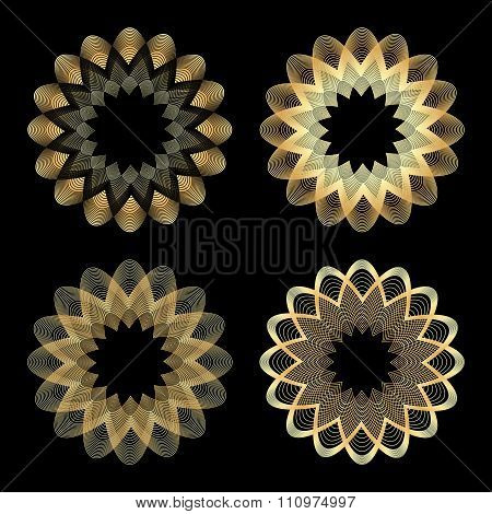 Set Of Vector Guilloche Gold Color On A Black Background