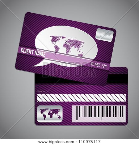 Loyalty Card With World Map And Speech Bubble On Striped Background