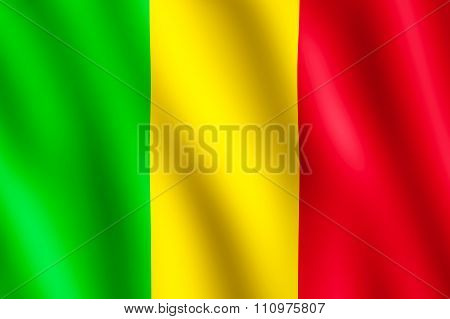 Flag Of Mali Waving In The Wind