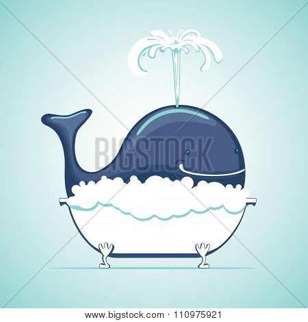 Whale take bath with soap suds