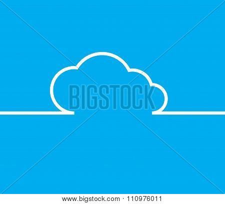 Vector Cloud With White Lines And Arrows With The Same Line On A Blue Background