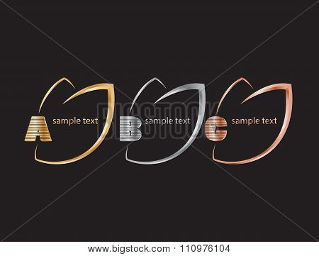 Bright Vector Labels In The Form Of Leaves Of Gold, Silver And Bronze On A Striped Background With G