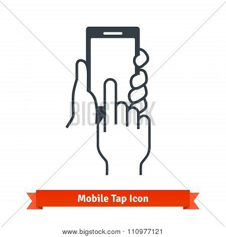 Hands holding, tapping black phone blank screen