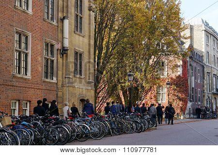 Parked Bikes And Tour Group, Trumpington Street, Cambridge, UK