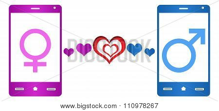 Mobile Dating Pink Blue