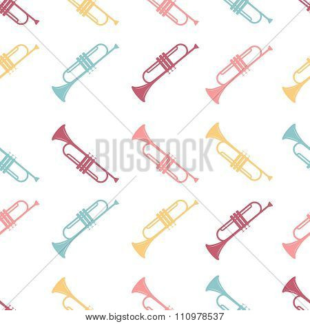 Vector seamless pattern of colored Trumpet on a white background